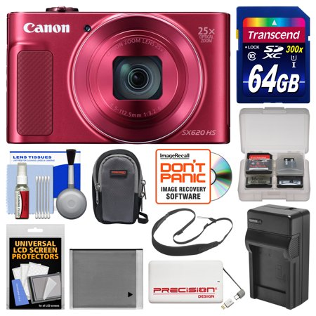 Canon Powershot Sx620 Hs Wi Fi Digital Camera  Red  With 64Gb Card   Case   Battery   Charger   Power Bank   Sling Strap   Kit