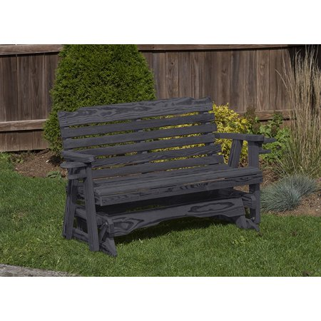 Black 4 Ft Amish Heavy Duty Classic Park Style Pressure Treated Porch Patio Garden Lawn Outdoor GLIDER with cup (Log Style Glider)