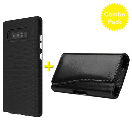 buy popular 966d6 c9377 Samsung Galaxy Note 8 Case Leather Horizontal Pouch Combo Pack, Hybrid Anti  Slip Protective Case with Executive Leather Horizontal Belt Clip Pouch for  ...