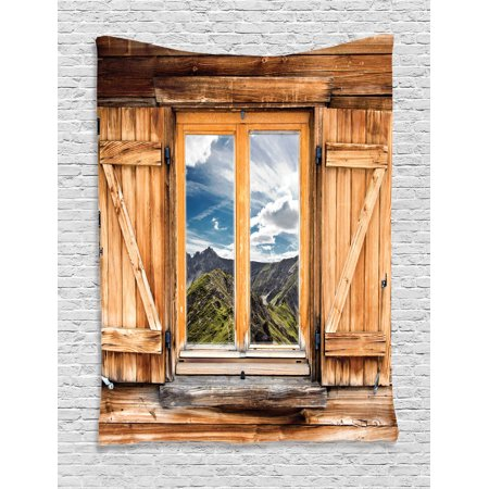 Apartment Decor Wall Hanging Tapestry, Mountain And Sky View From A Wooden Shuttered Window Room On Top Of The Hills Nature Look, Bedroom Living Room Dorm Accessories, By Ambesonne ()