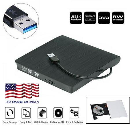 Cd Rom Cleaner - USB 3.0 External DVD Drive Slim Slot DVD VCD CD RW Drive Burner Reader Player Superdrive External Drive For l aptop Desktop PC-Black color