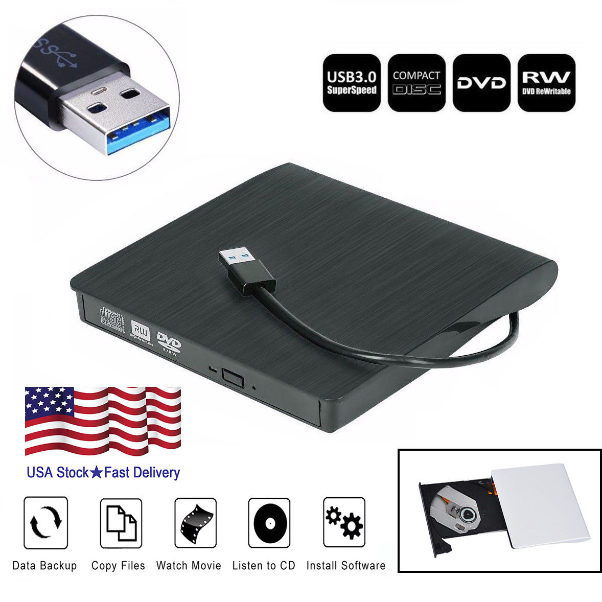 USB 3.0 External DVD Drive Slim Slot DVD VCD CD RW Drive Burner Reader Player Superdrive External Drive For l aptop Desktop PC-Black color
