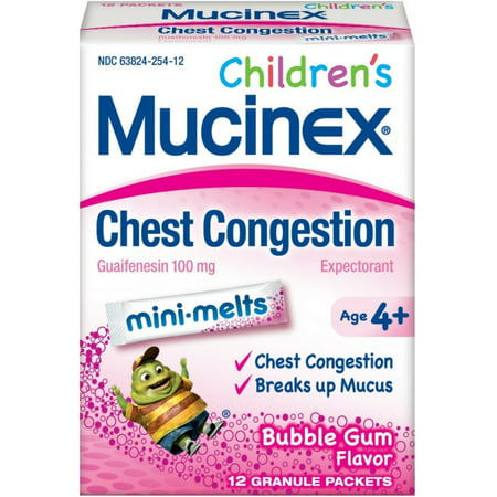 2 Pack - Mucinex Children's Chest Congestion Expectorant Mini-Melts, Bubblegum, 12