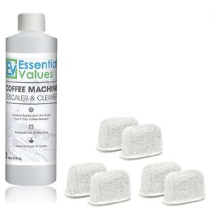 Essential Values Coffee Machine Descaler and Cleaner with 6 Filters for Keurig