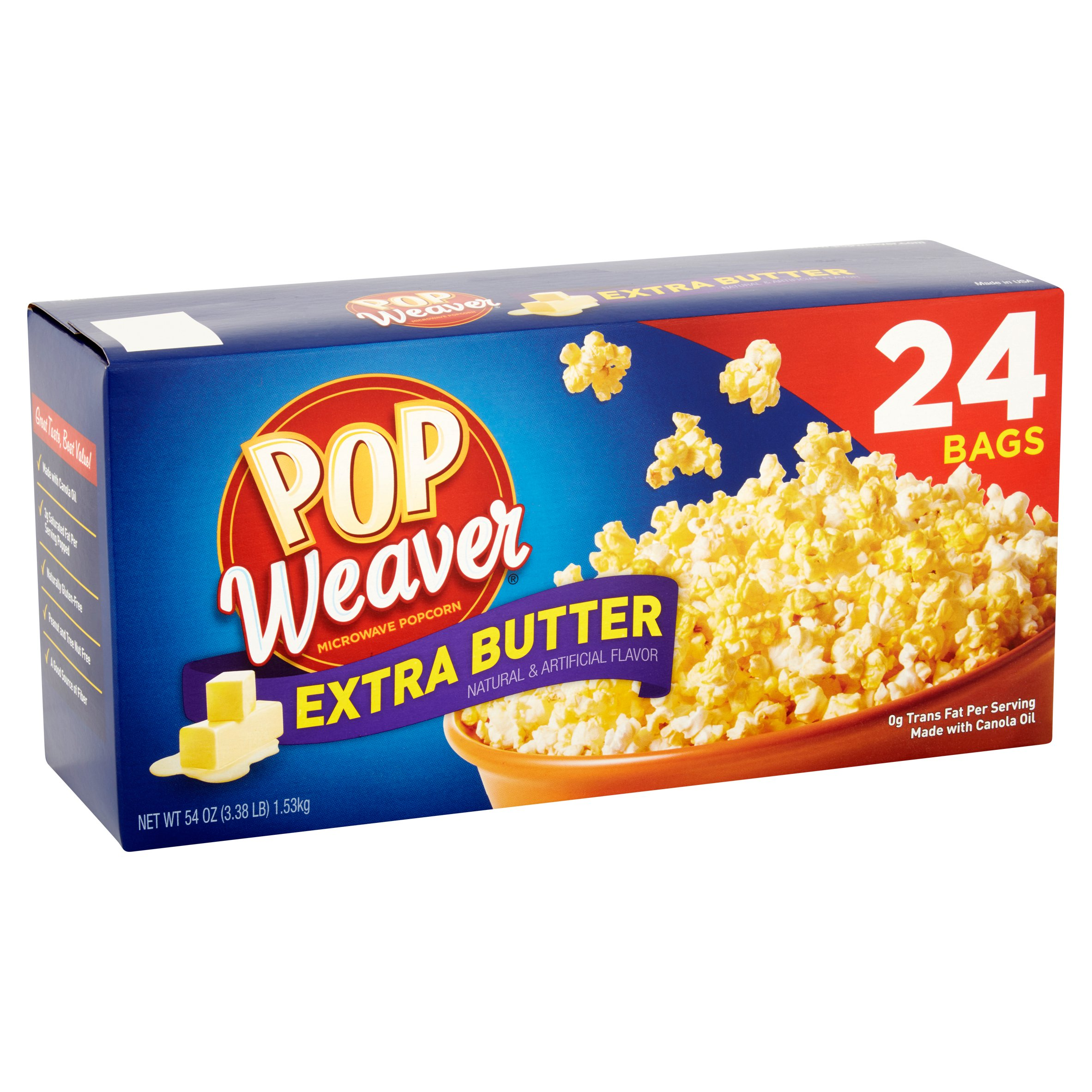 Pop Weaver Extra Butter Microwave Popcorn Bags, 24 count, 54 oz