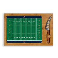 Picnic Time 910-00-505-594-0 University of Virginia Cavaliers Digital Print Icon-Football Cutting Board Tray with 3 Piece Knife Set, Natural