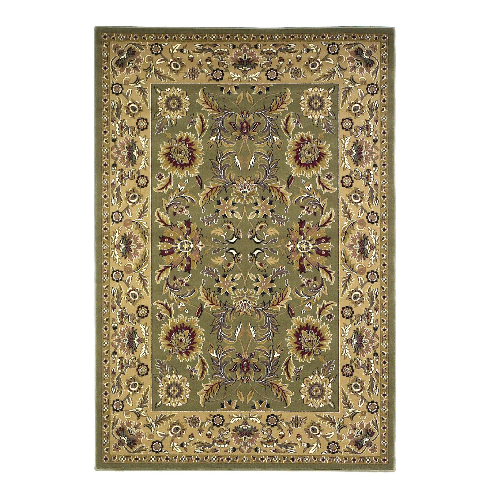 KAS Rugs Cambridge 7304 Green and Taupe Kashan Machine-Made 100% Heat-Set Polypr