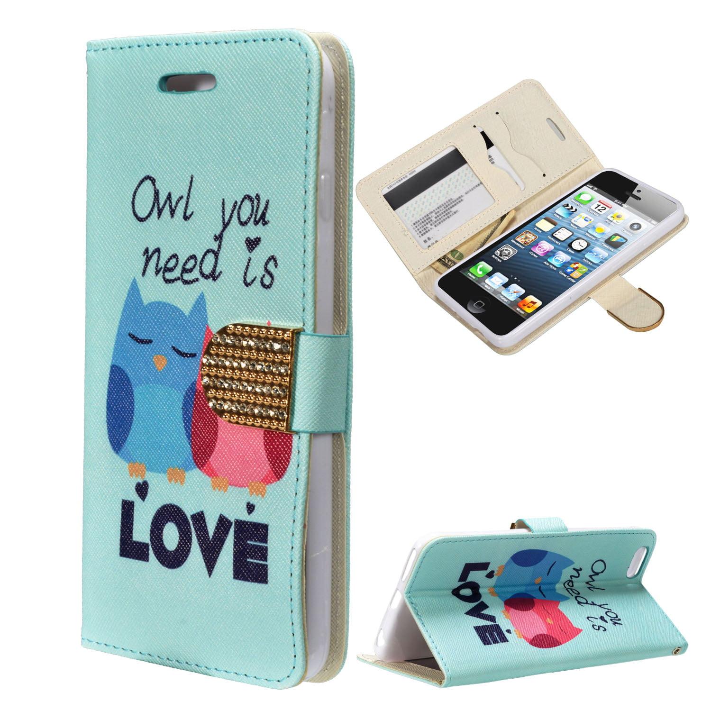 Zizo® Design Wallet Case Pouch iPhone SE 5 5G 5S TPU Inside