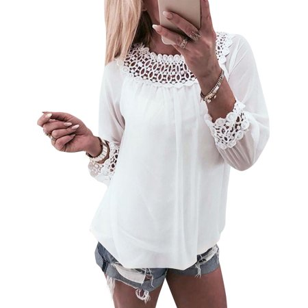 STARVNC Women Long Sleeve Lace Splice Round Neck White T-Shirt Blouse