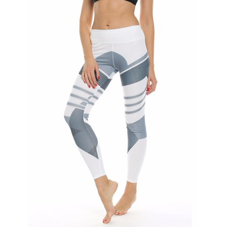FITTOO Activewear Women Geometry Print Sports Gym Yoga Workout Athletic Leggings