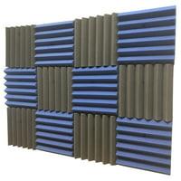 2x12x12-12PK BLUE/CHARCOAL Acoustic Wedge Soundproofing Studio Foam Tiles Panels