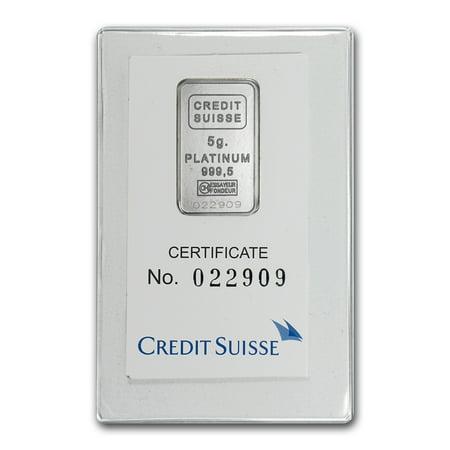 5 Gram Platinum Bar   Credit Suisse  In Assay