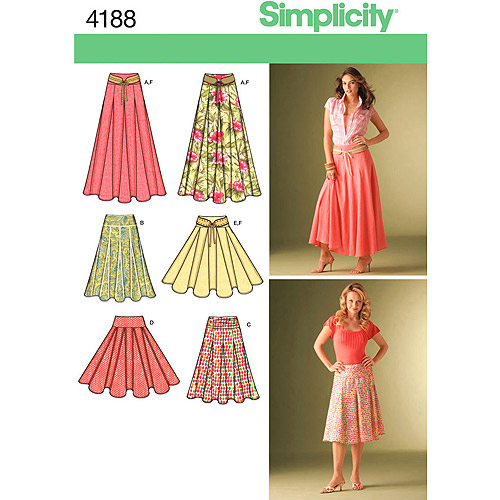 Simplicity Pattern Misses' Skirts, (8, 10, 12, 14, 16)