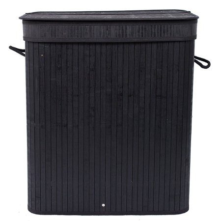 Top Knobs Bamboo Laundry Hamper 100L Dirty Clothes Storage Basket with Lid Liner and Handles Rectangular Black ()