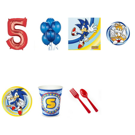 SONIC THE HEDGEHOG PARTY SUPPLIES PARTY PACK FOR 32 WITH RED #5 BALLOON