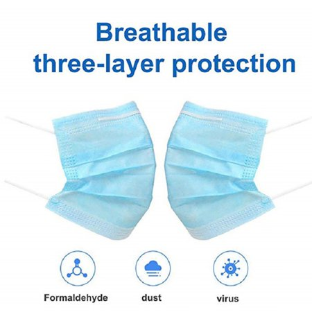 20 PCS Disposable Face Masks with Elastic Ear Loop 3 Ply Breathable and Comfortable for Blocking Dust Air Pollution covid 19 (masks for germ protection coronavirus)