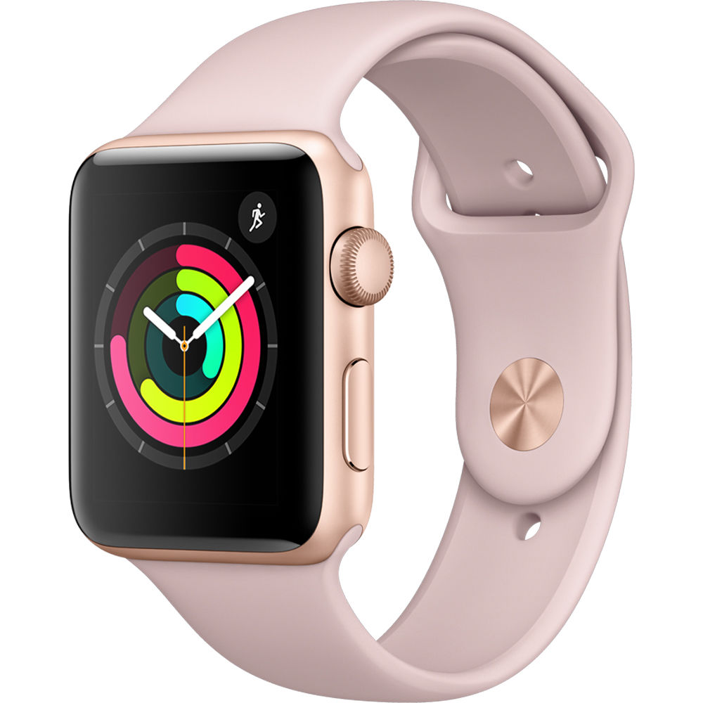 Apple Watch Series 3 42mm Smartwatch (GPS Only, Gold Aluminum Case, Pink Sand Sport Band) by Apple