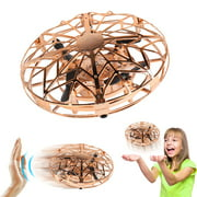 Hand Operated Drones for Kids & Adults, ZIOBLW Super Fun & Easy Hands Free Mini Drone Helicopter (2 Speed & LED Light), Indoor Flying Ball Toys Gifts for 6 7 8 9 10 Years Old Boys & Girls - Gold