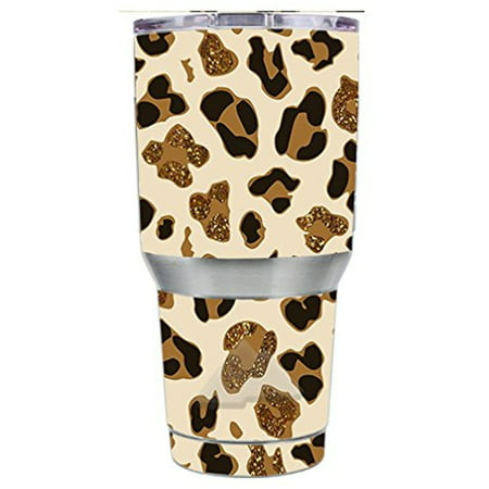 Glitter Leopard - Skin Decal Vinyl Wrap for Ozark Trail 30 oz Tumbler Cup Stickers Skins Cover (6-piece kit) / Leopard Print Glitter Print (not real glitter)