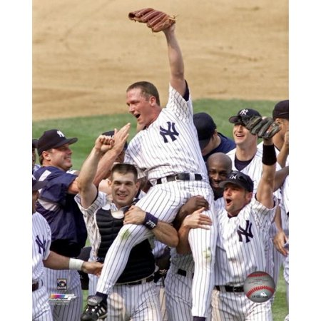 David Cone Is Carried On The Shoulders Of His Teammates After Pitching A Perfect Game Against The Montreal Expos At Yankee Stadium July 18 1999 Photo Print