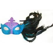 Glitter Eye Venetian, Masquerade, Mardi Gras Mask W/Feathers Style G