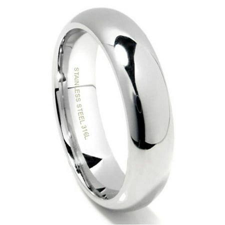 Steel High Polished Finish (6MM 316L Stainless Steel High Polish Finish Plain Dome Wedding Band Ring Sz 10)