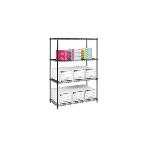 Safco Products Company SAF5295BL Add-On Unit- f-Wire Shelving- 4 Shelves-2 Posts- 48inchx24inch- Black