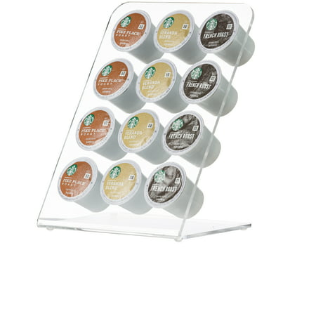 KitchenMate KM211 - Clear Acrylic 12 Coffee Keurig K Cups Tree Pod Holder (Keurig Cup Holder Wood)