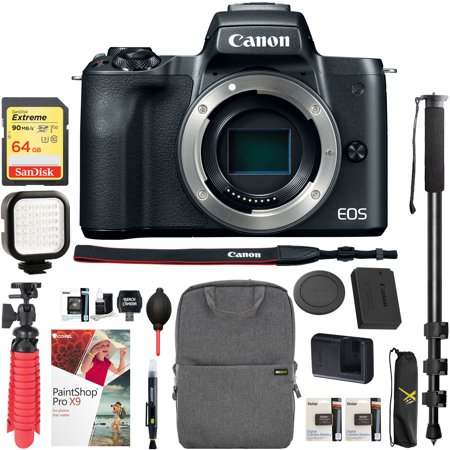 Canon EOS M50 Mirrorless Camera Body with 4K Video (Black) and Pro Photography Bundle Backpack , Monopod , SanDisk 64GB SDXC Memory Card, Extra Battery