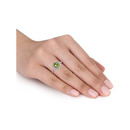 Peridot and White Topaz Fashion Ring 2 Carat (ctw) with Diamonds in 14K White Gold - image 3 of 4