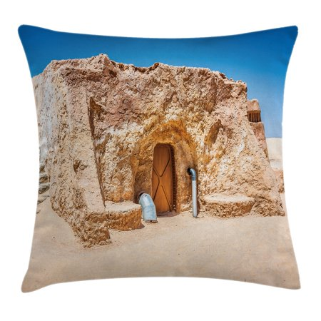 Galaxy Throw Pillow Cushion Cover, One of Abandoned Sets of Movie in Tunisia Desert Phantom Menace Galaxy Wars Themed, Decorative Square Accent Pillow Case, 18 X 18 Inches, Brown Blue, - Movie Themed