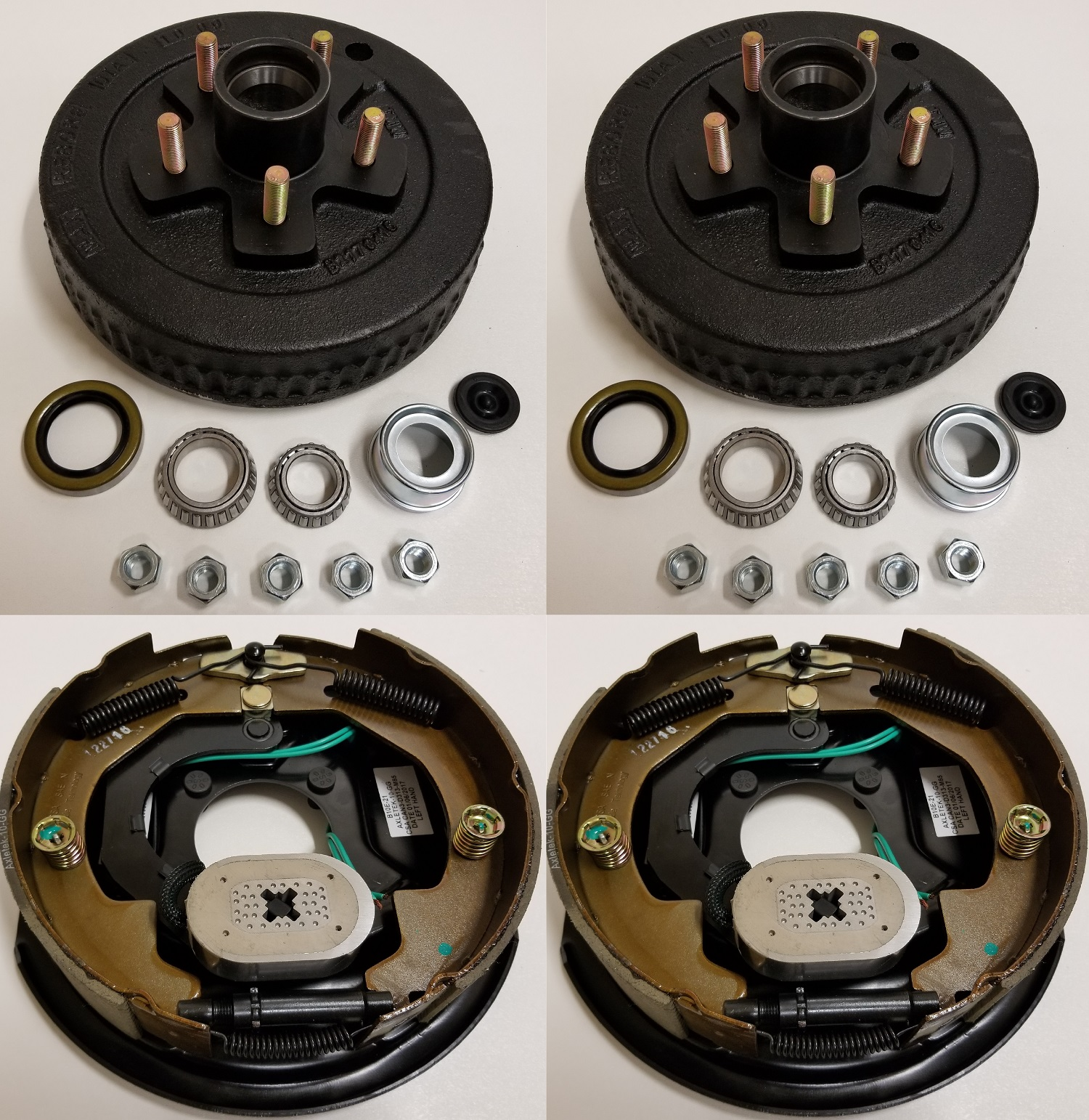 2-Pk Electric Trailer Brake 10 inch LH Backing Plates Hub / Drum Kits (5 on 4.5)
