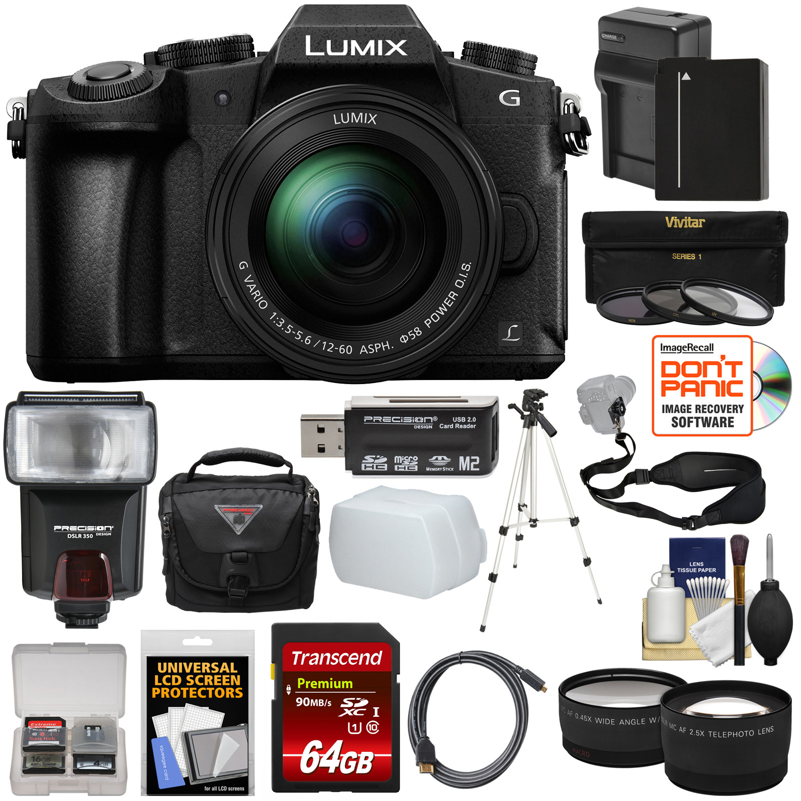 Panasonic Lumix DMC-G85 4K Wi-Fi Digital Camera + 12-60mm Lens with 64GB Card + Battery + Case + Tripod + Flash + Sling Strap + Tele + Wide Lens Kit