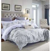 Swanson Beddings Gray Paisley Floral Print 3-Piece 100% Cotton Duvet Cover Set: Duvet Cover and Two Pillow Shams (King)