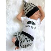 Newborn Infant Baby Boy Cotton Tops Romper Pants Legging Hat Outfits Clothes Set