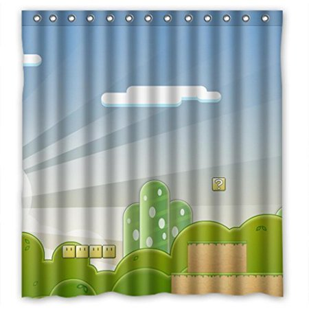 DEYOU Super Mario Game Scenery Cartoon Shower Curtain Polyester Fabric Bathroom Size 66x72 Inches