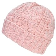 Best Winter Hats Womens Variegated Cable Knit Messy Bun/Ponytail Cuffed Beanie - Pink/White