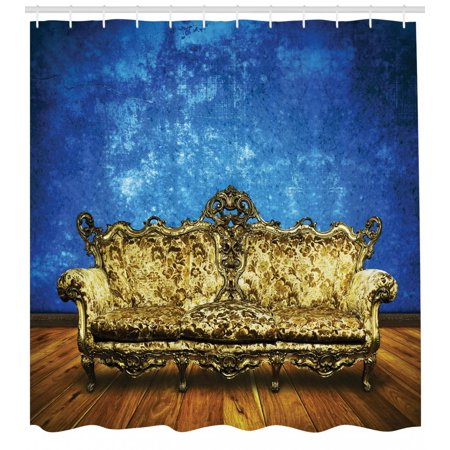 Timber Bath (Victorian Shower Curtain, Victorian Sofa in Room Interior Wooden Floor Timber Panel Curve Aged, Fabric Bathroom Set with Hooks, Brown Yellow Royal Blue, by Ambesonne )