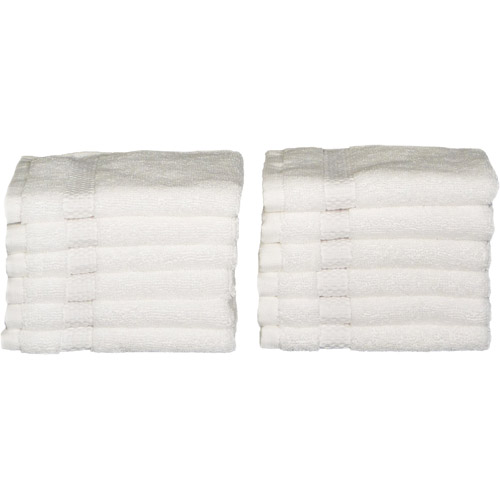 Baltic Linen Pyramid Excel Heavyweight Washcloths, 12pk, White