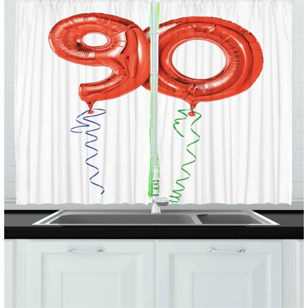 surprising red green living room | 90th Birthday Curtains 2 Panels Set, Flying Balloons and ...