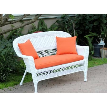 51 Jasmine White Resin Wicker Patio Loveseat Tangerine Orange Cushion And Pillows