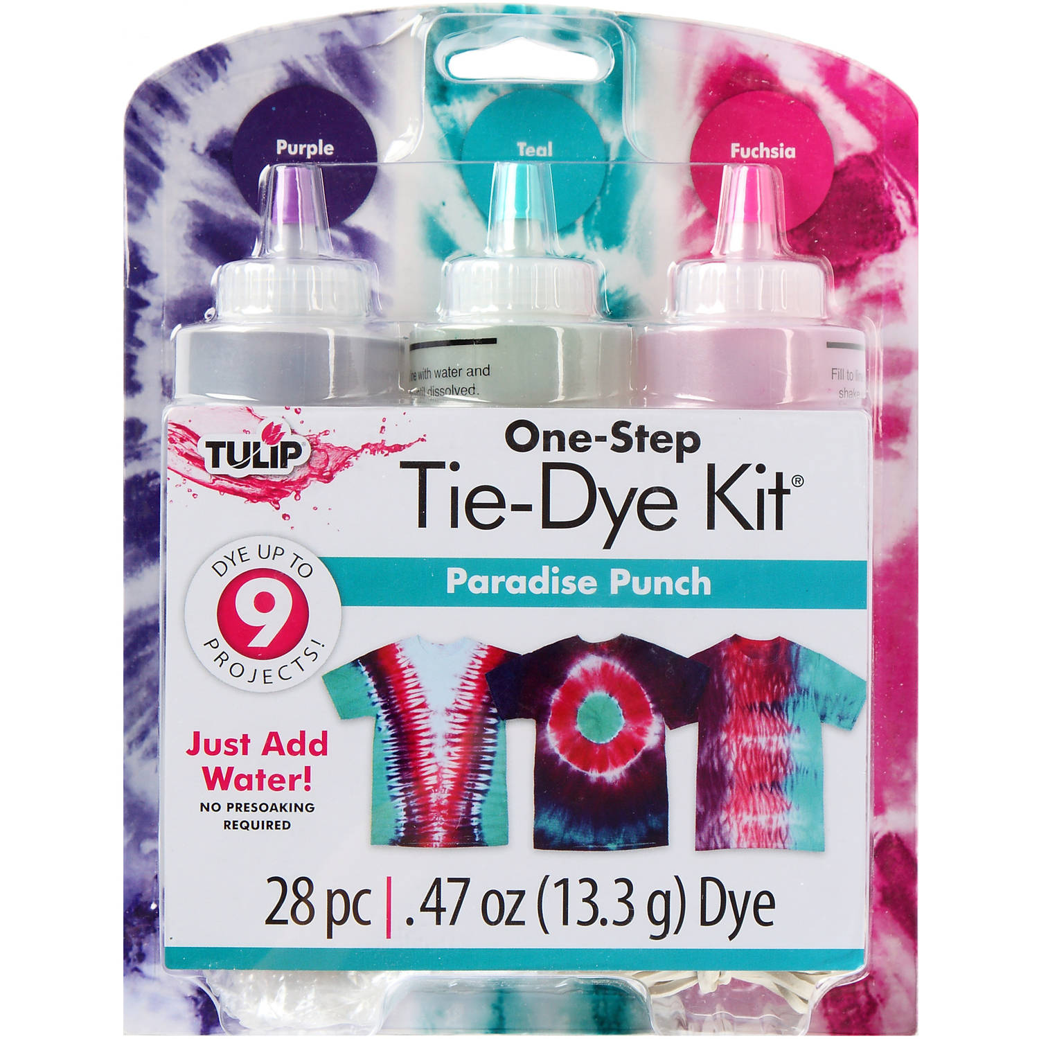 Tulip Medium Tie Dye Kit, Paradise Punch, 3pk