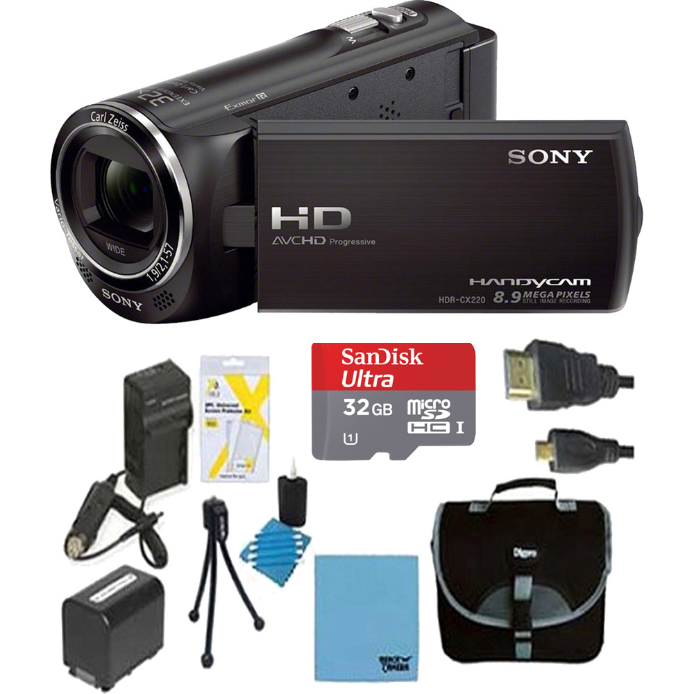 Sony HD Video Recording HDRCX405 Handycam Camcorder - Black Ultimate Bundle with 32GB MicroSDHC Memory Card, Spare Battery, AC/DC Charger, Table top Tripod, Padded Case, Micro HDMI Cable and More