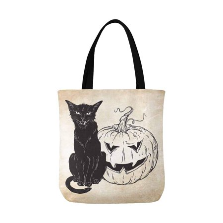ASHLEIGH Black Cat Sitting with Halloween Pumpkin Over Old Grunge Paper Canvas Tote Bag Tote Shopping Bag Washable Grocery Tote Bag, Craft Canvas Bag for Women Men Kids](Halloween Shopping)