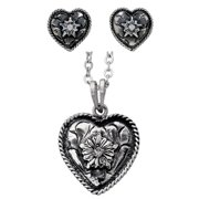 Bar V Western Womens Necklace Earrings Heart Rope Set 310-252