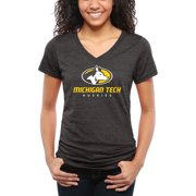Michigan Tech Huskies Women's Classic Primary Tri-Blend V-Neck T-Shirt - Black