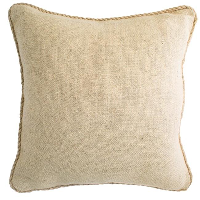 Indias Heritage C887 Natural Plain Jute Corded Pillow, Natural