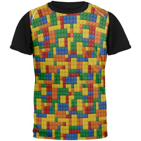 Halloween Building Blocks Costume All Over Mens Black Back T - Halloween Block Party Tv Show