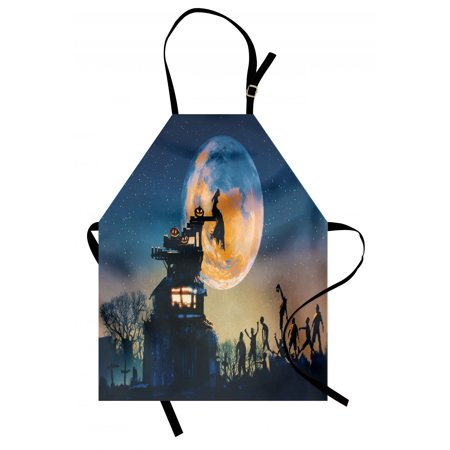 Fantasy World Apron Dead Queen in Castle Zombies in Cemetery Love Affair Bridal Halloween Theme, Unisex Kitchen Bib Apron with Adjustable Neck for Cooking Baking Gardening, Blue Yellow, by Ambesonne](Halloween Themed Cooking Ideas)