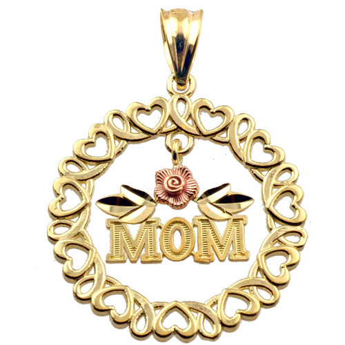 "US GOLD Handcrafted 10kt Gold Two-Tone ""MOM"" with Hearts and Flower Circular Charm Pendant"